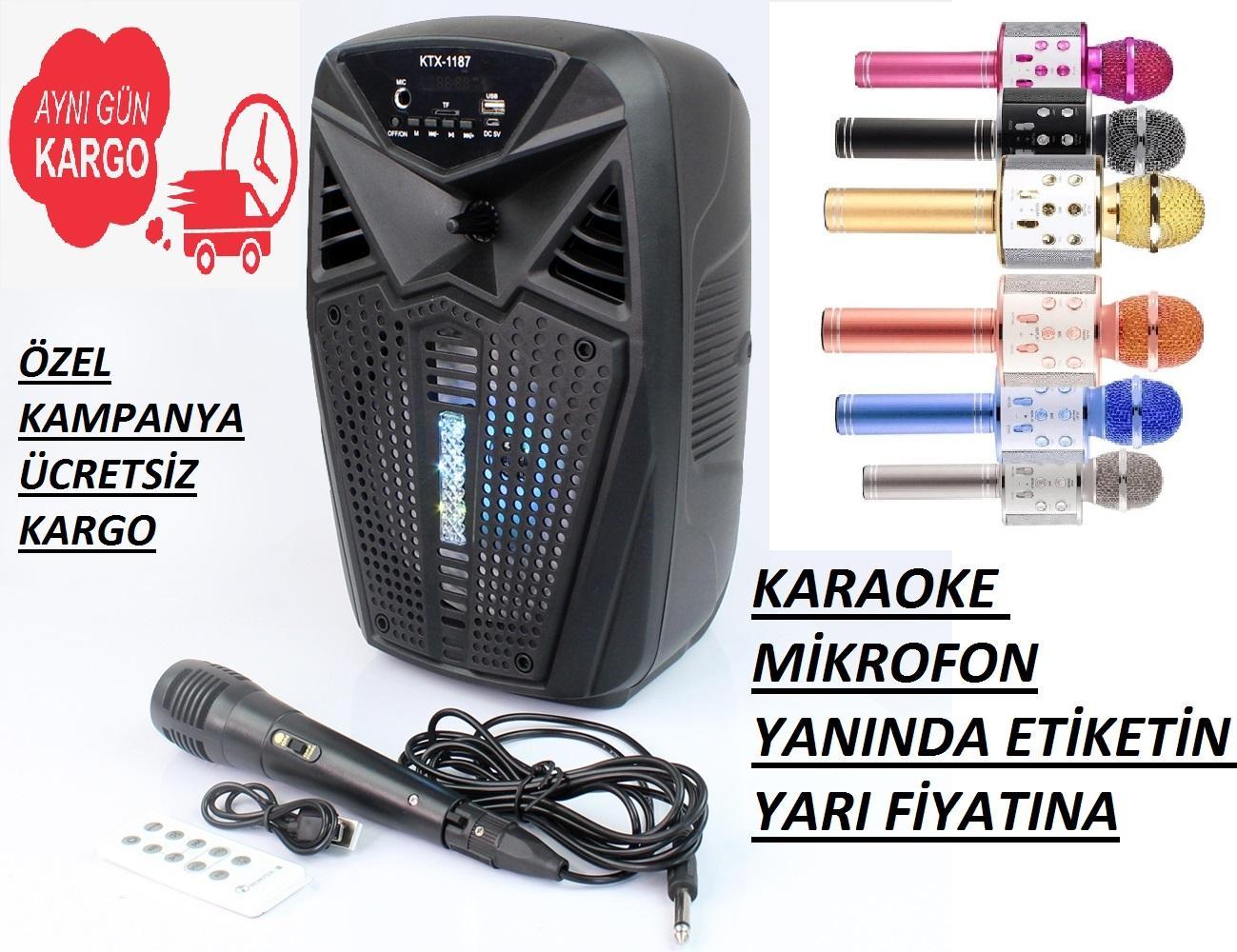Mikrofonlu Şarjlı Wireless Karaoke Amfi Hoparlör Speaker + KARAOKE MİKROFON YARI FİYATINA
